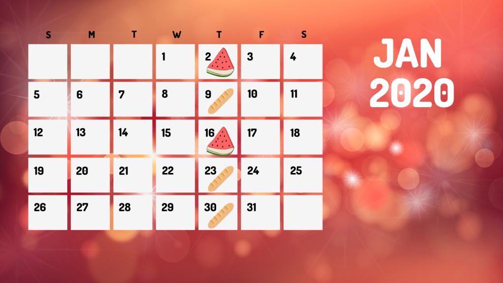FD Jan 2020 calendar